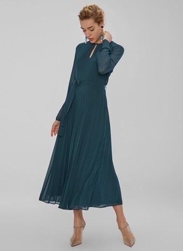 People By Fabrika Piliseli Yakası Düğme Detaylı Elbise Yeşil